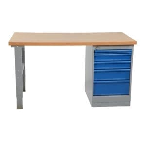 Cityramp Worktable with 5 drawers oil-tempered board 2000x800mm