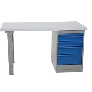 Cityramp Worktable with 5 drawers steel board 2000x800mm